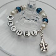 Bottle & Glasses Personalised Wine Glass Charm - Full Sparkle Style